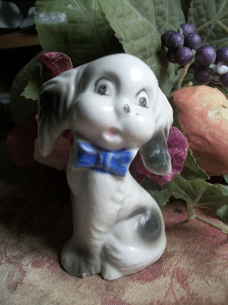 Dog Puppy Canine Animal White Porcelain Figurine VTG Made in Japan Collectible