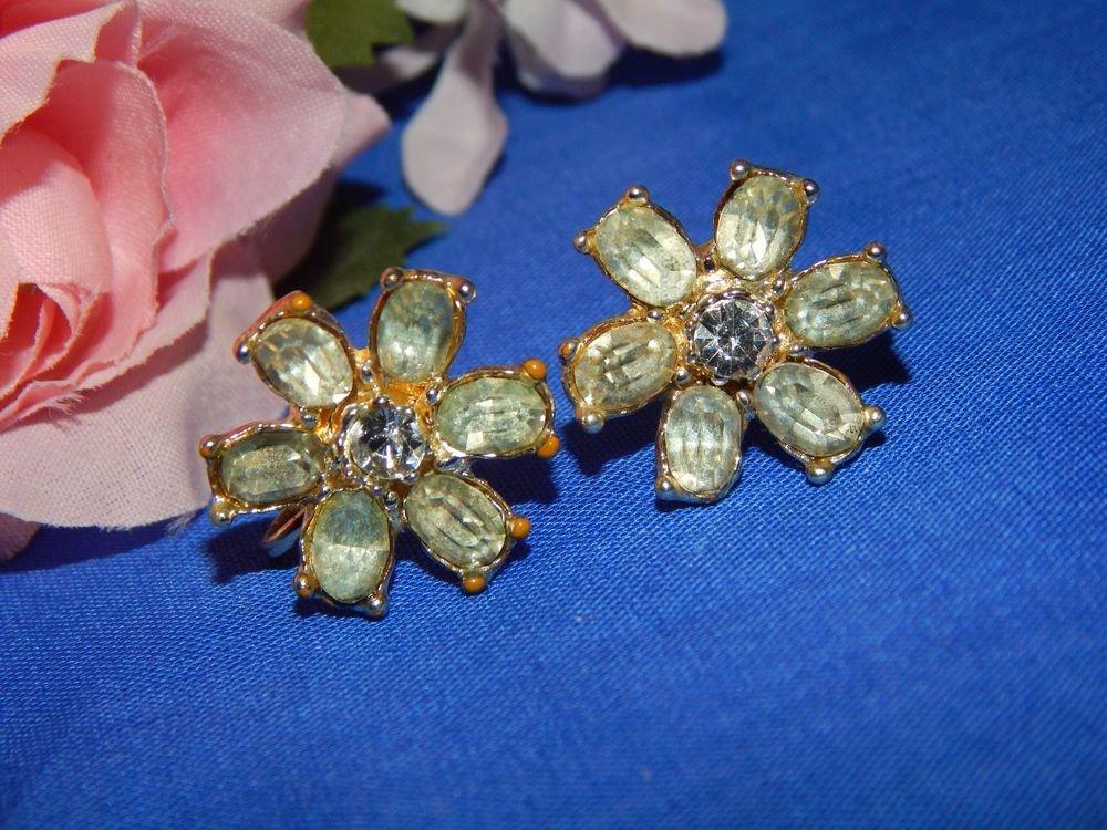 Rhinestone Earrings Silver Plate Daisy Flower Screw Back Clip On Antique Jewelry