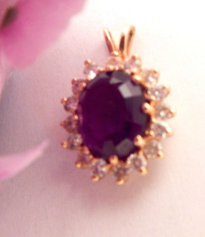 Genuine Amethyst and Diamond Pendant 14kyg Purple Gemstone Vintage Fine Jewelry