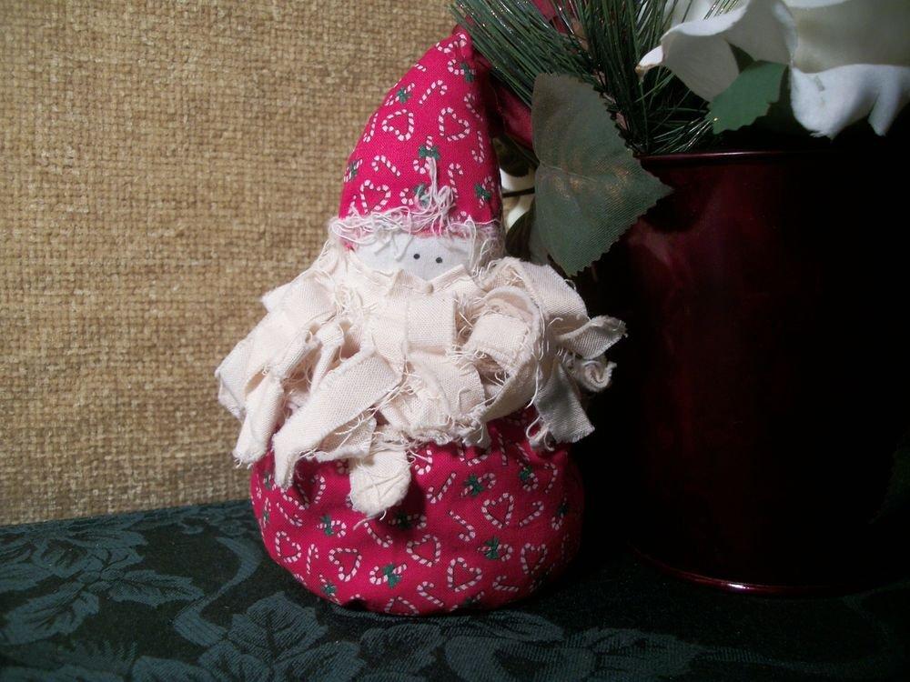 Bean Bag Bottom Santa Claus Hand Crafted Christmas Decor Candy Cane Print Fabric