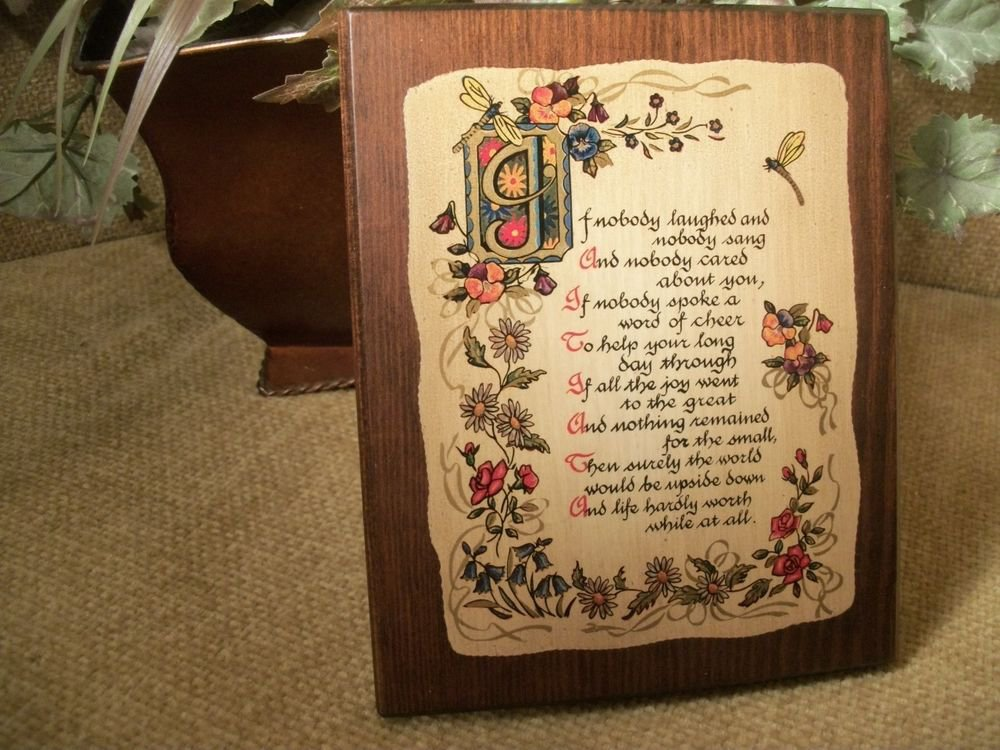 Vintage Home Decor Inspirational Plaque Cheerfulness Laughter Lithograph Wood
