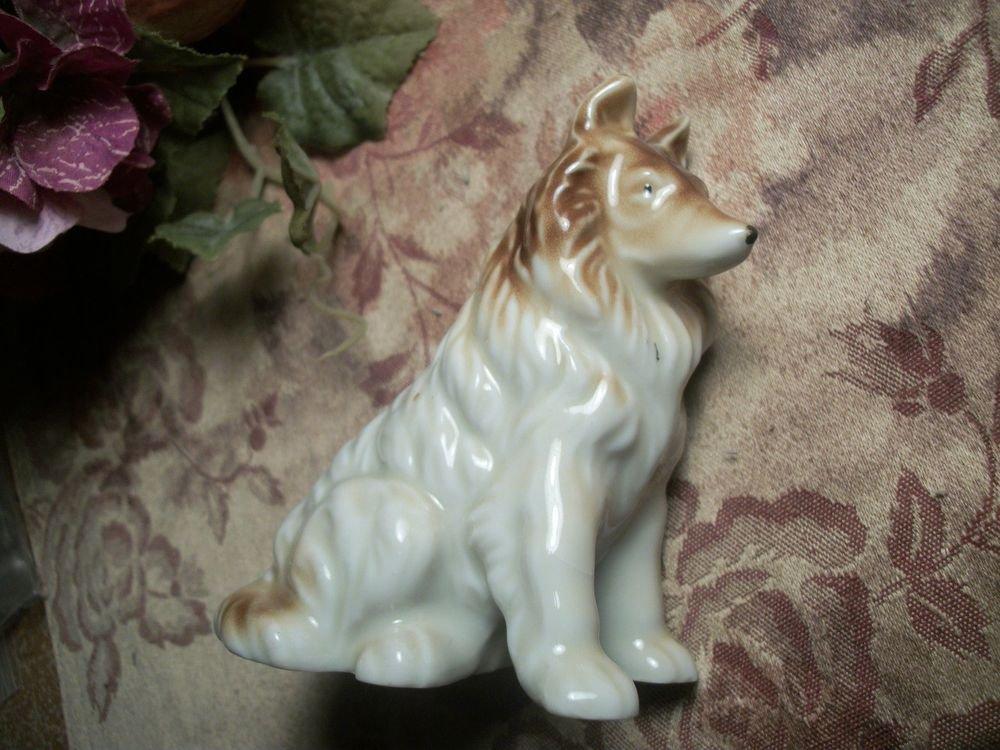 Collie Dog Canine Animal Brown White Porcelain Figurine VTG Made in Japan