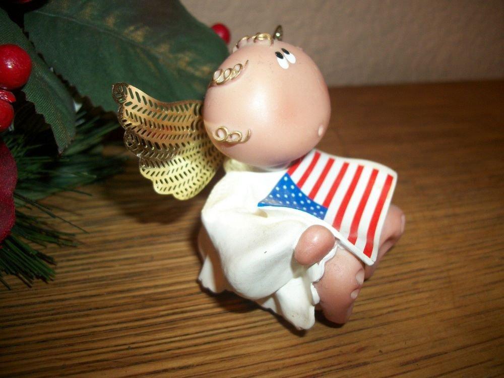 Angel Figurine American Flag Kirks Kritters 2001 Collectible Russ Berrie