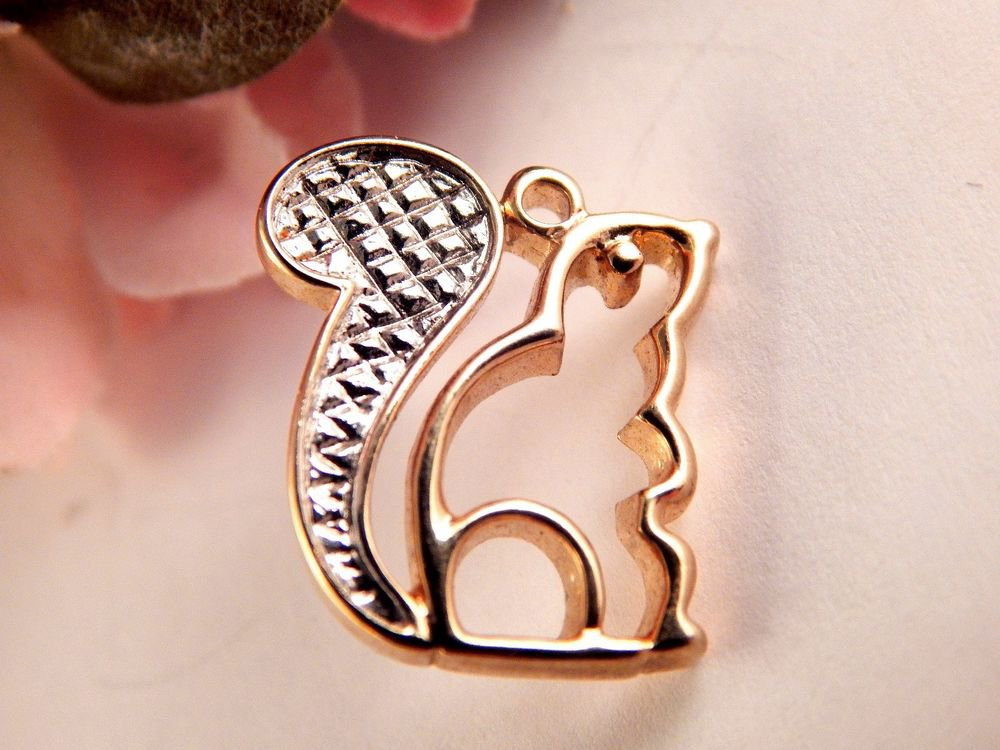 Gold Metal Squirrel Lapel Pin Animal Nature Fall Jewelry Vintage Avon Hat Tack