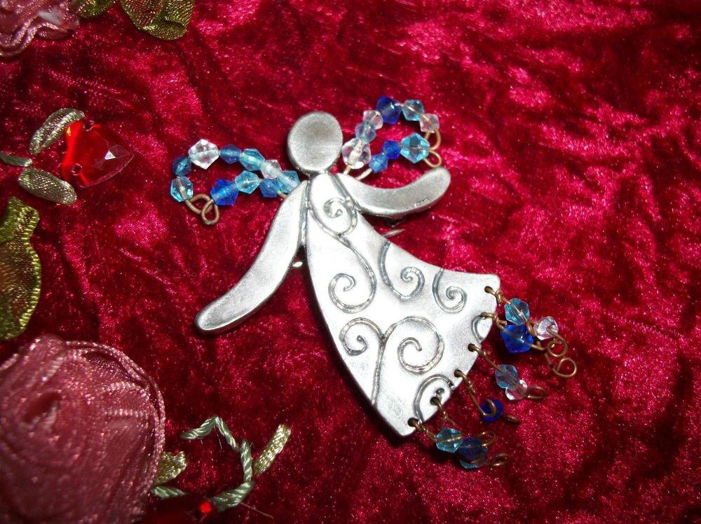 Angel Brooch Ganz Winter Magic Jeweled Pin Silver Blue Beaded Christmas Gift