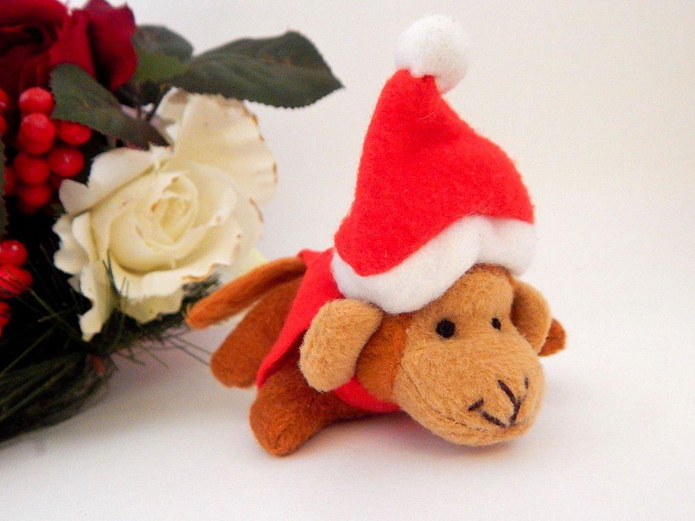 Monkey Christmas Tree Ornament Stuffed Animal Toy Santa Hat Stocking Stuffer