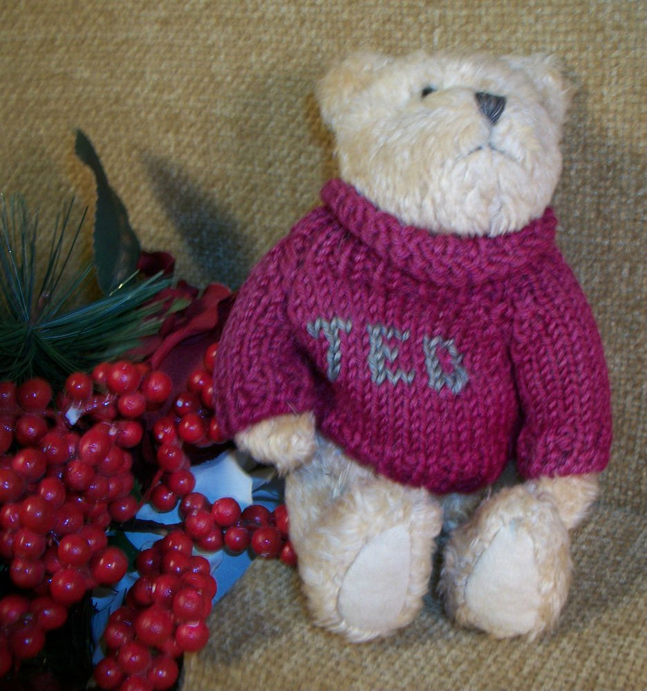 "BOYDS TED 8"" Plush Stuffed Animal Red Sweater Bear RARE JB Bean Collectible"