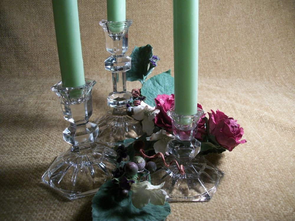 Cyrstal Candle Sticks 3 Clear Cut Glass Taper Candle Holders Fine VTG Home Decor