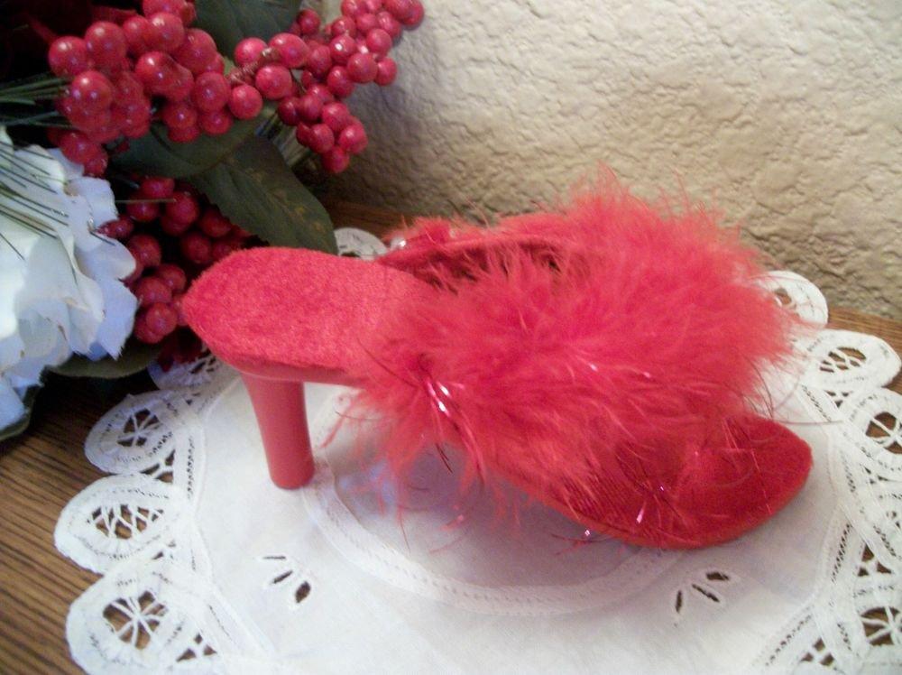Red Velvet Marabou Slipper Miniature High Heeled Peep Shoe Boudoir Decor