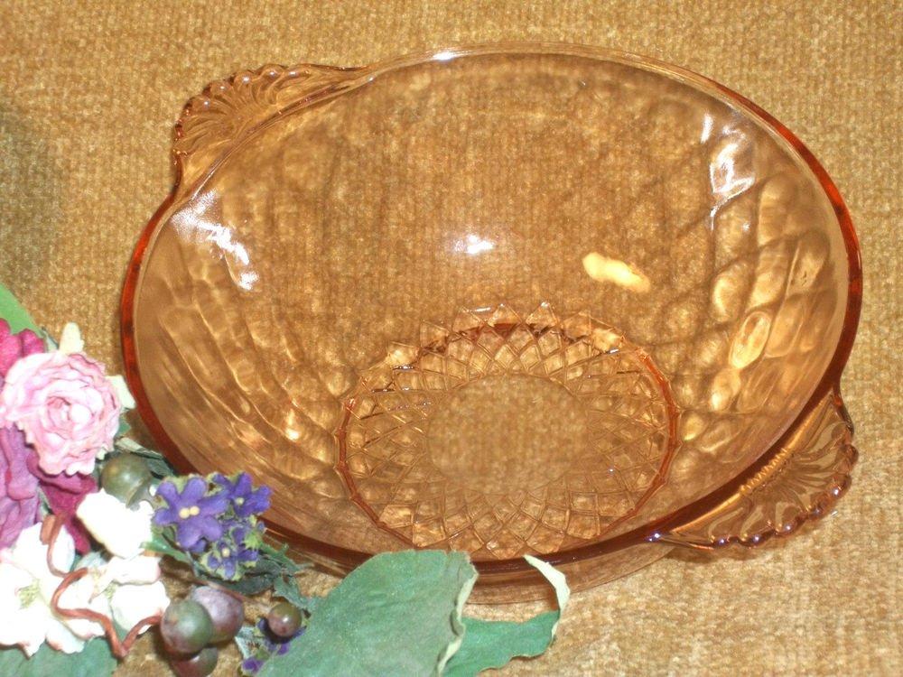 Pink Depression Glass Diamond Pattern Art Dec Serving Dish Fruit Bowl Tableware
