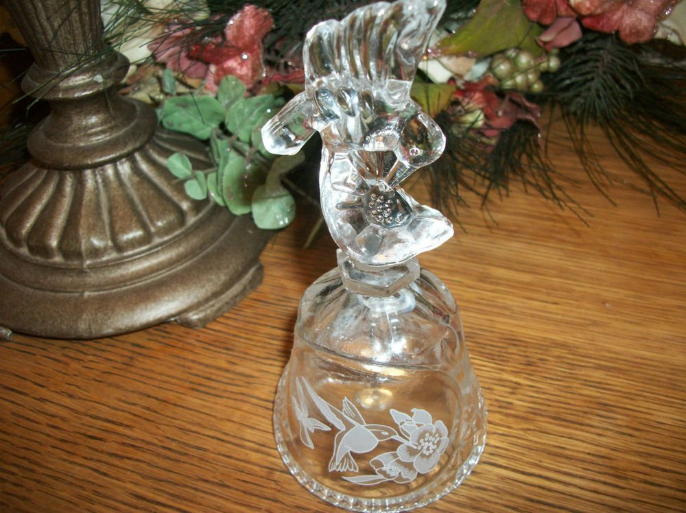 VTG Clear Pressed Glass Bell Hummingbird and Flowers Collectible Home Decor Gift