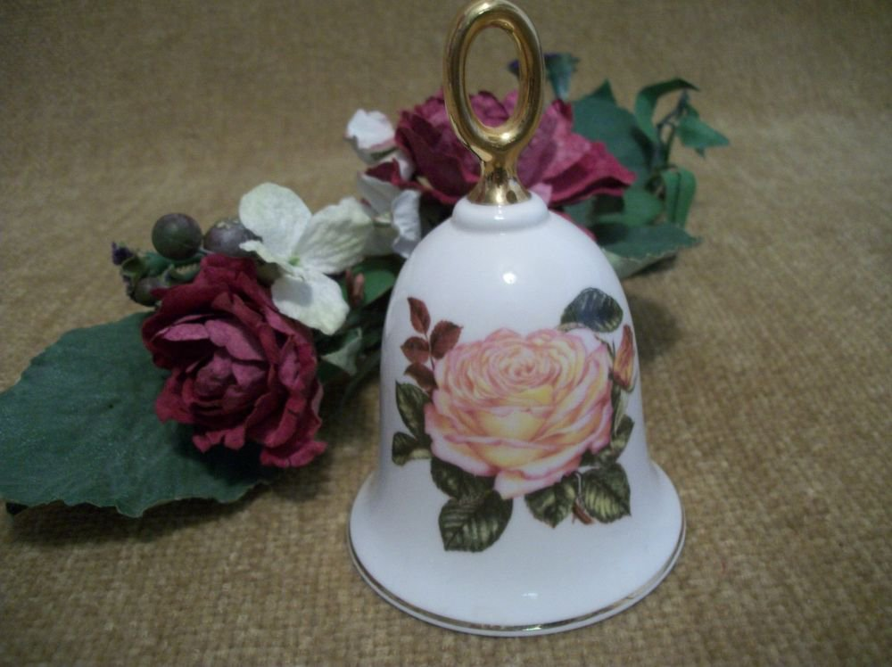 Vintage Danbury Mint American Rose Bell Peace Rose Fine Bone China 22k Gold Gilt