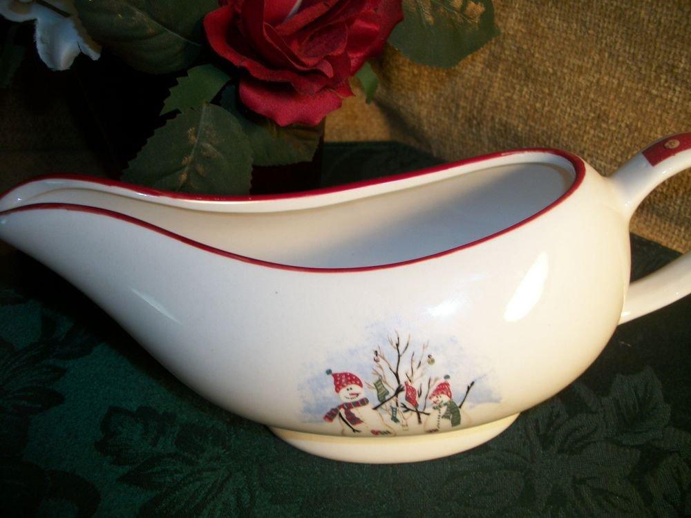 Royal Seasons Stoneware Snowman Gravy Boat Sauce Dish White Red VTG Tableware