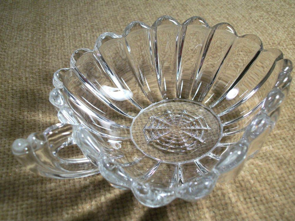 Depression Glass Bowl Ornate Art Deco Leaf Shape VTG Serving Sauce Candy Dish