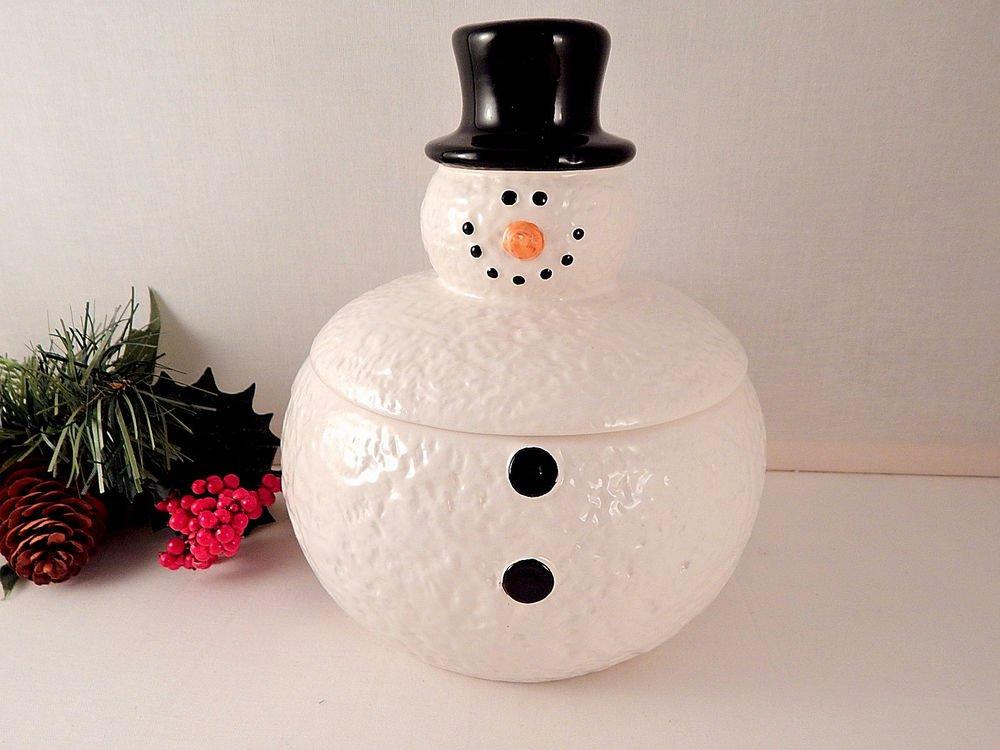 Golf Ball Snowman Cookie Jar Candy Dish White Ceramic Christmas Decoration