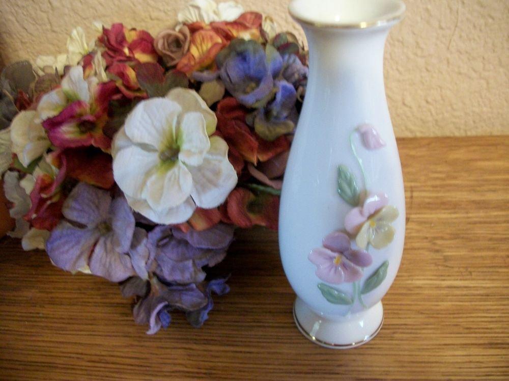 Bud Vase White Porcelain Gold Yellow Purple Pansy Pansies Flowers VTG Home Decor