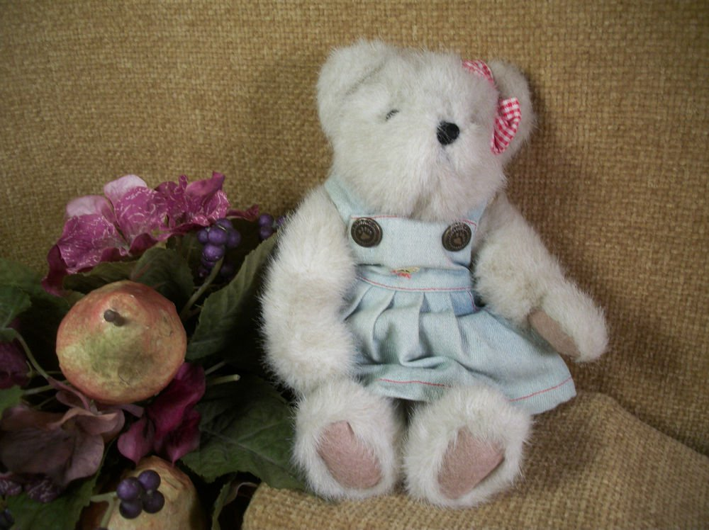 "BOYDS Peepers P. MacDonald 8"" Bear Plush Stuffed Animal Mint Green Jumper 913937"