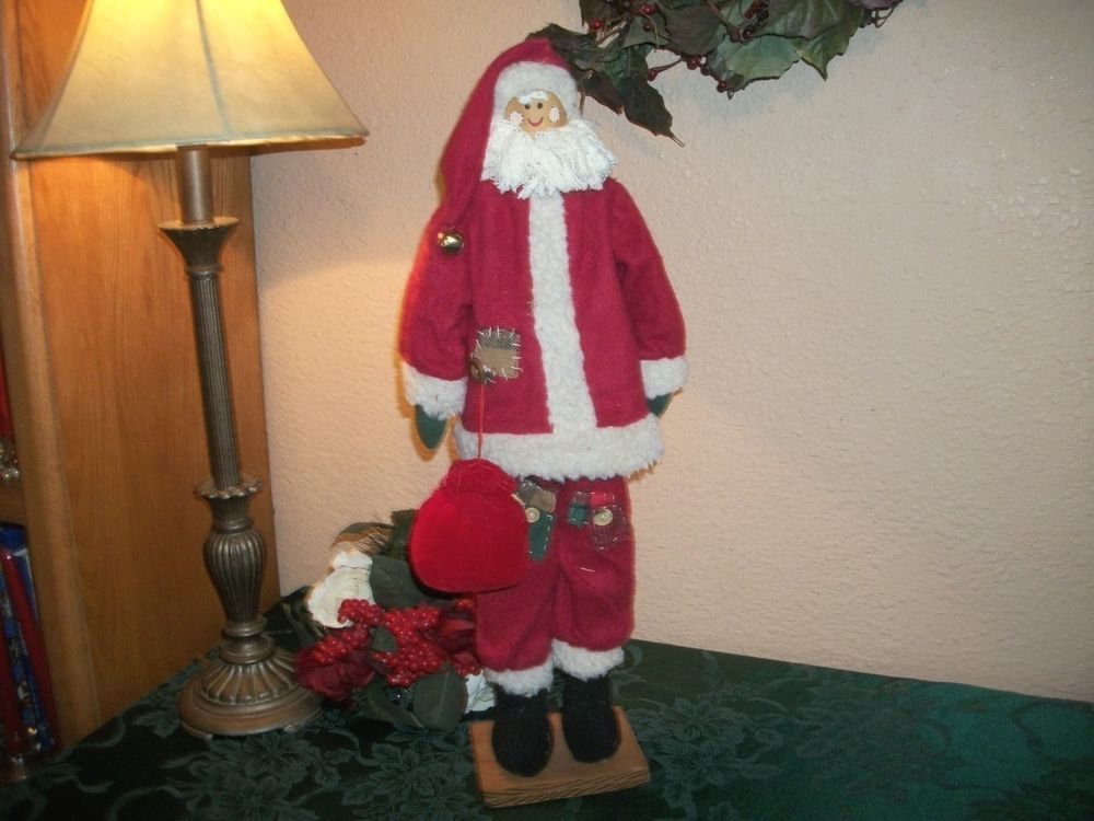 Skinny Santa Claus Statuette Wood Fabric Red White VTG Handmade Christmas Decor