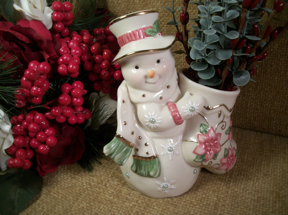 White Porcelain SNOWMAN with Stocking Figurine by LENOX Pink Green Gold Vase