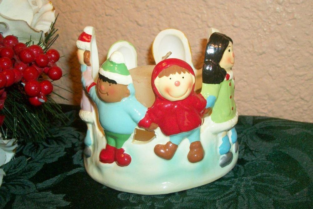 Worlds Children Candle Holder Winter Christmas Scene Ceramic Home Decor Gift