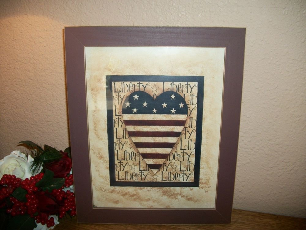 Americana Heart Flag Red Blue Beige Framed Art Print Wall Hanging Home Decor