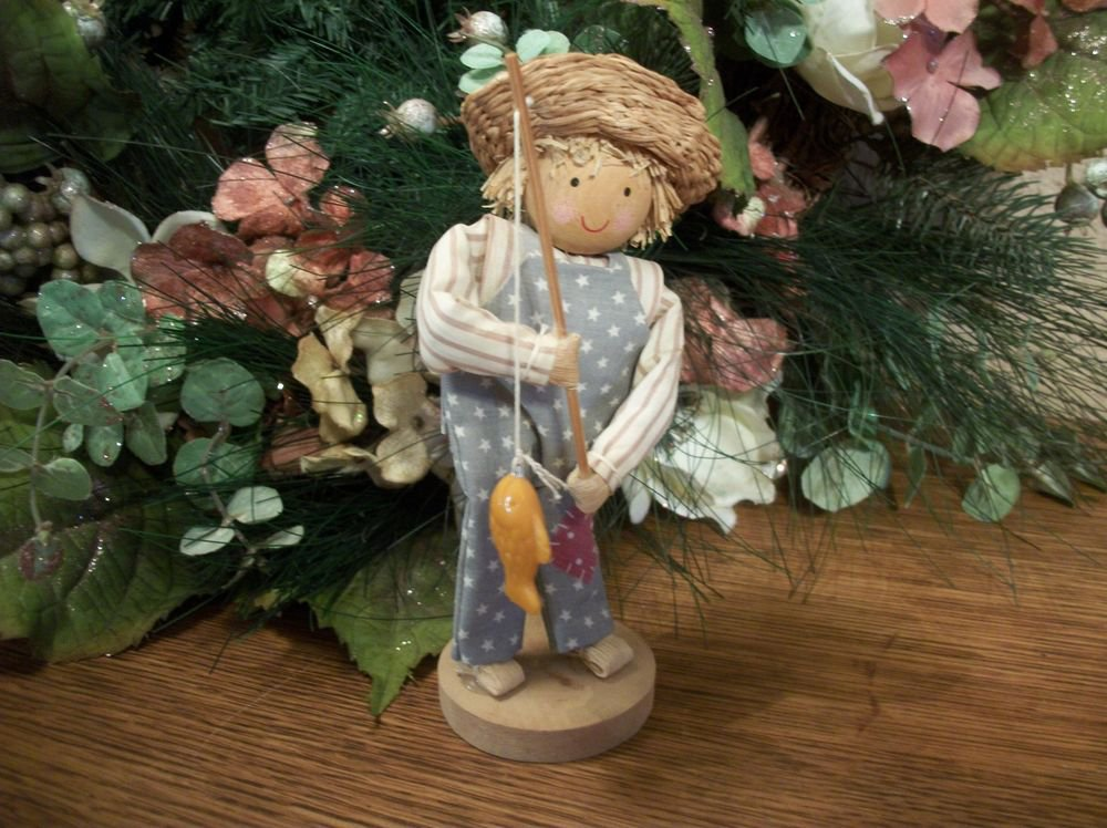 Fishing Boy Figurine Corn Husk Doll VTG Folk Art Americana Straw Hat Fisherman