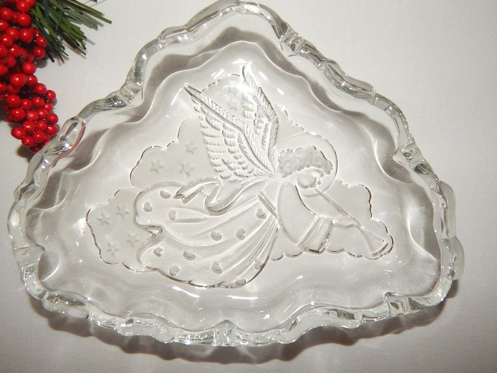 Angel Candy Dish Clear and Frosted Glass Tray Elegant Christmas Serving Bowl