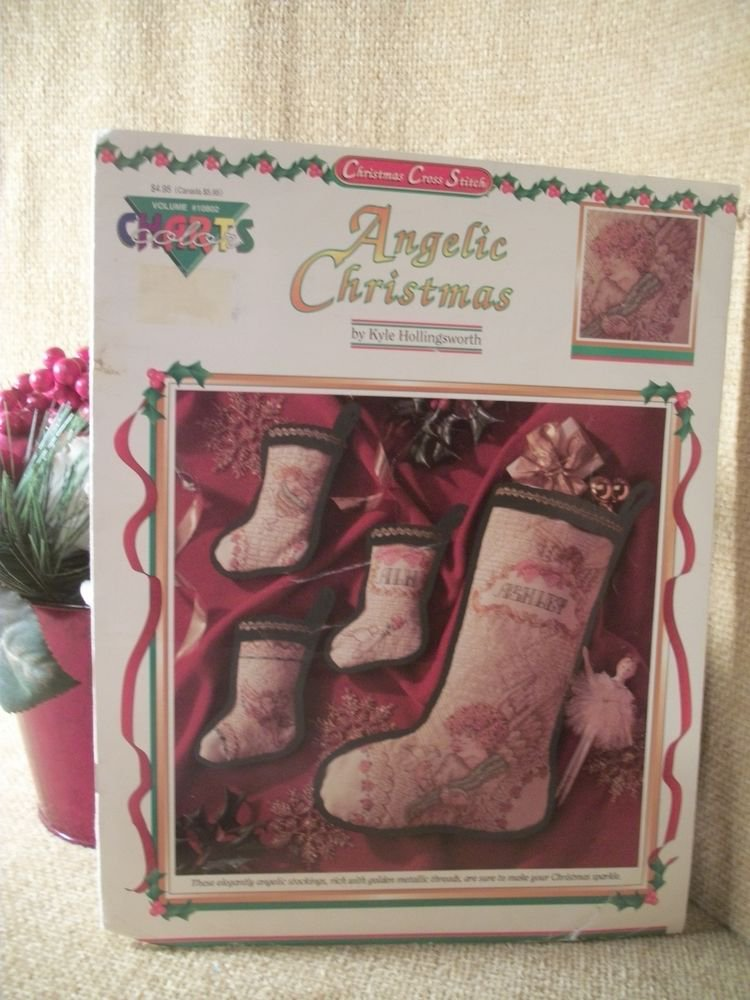 Angelic Christmas Elegant Angel Stockings - Color Charts Cross Stitch Patterns