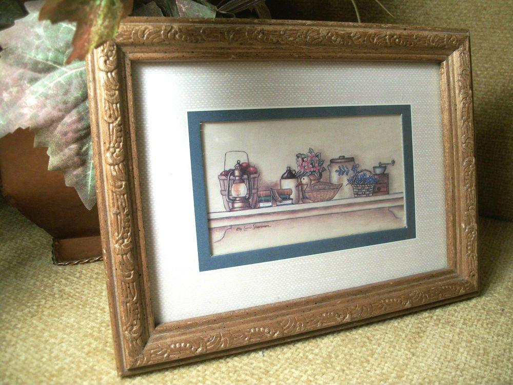 VTG Framed Art Print by Kay Lamb Shannon Kitchen Shelf Crock Jug Apple Baskets