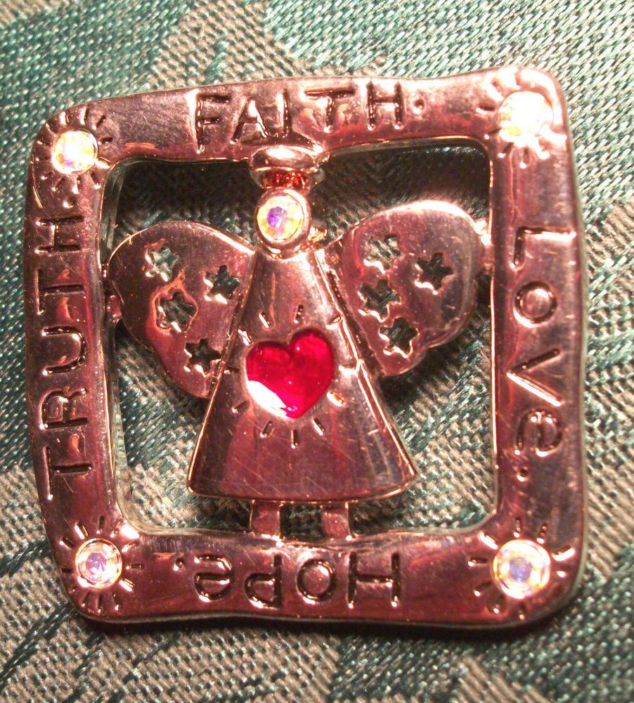 Modern Angel Brooch Faith Hope Love Truth Silver Metal Pin with Rhinestones