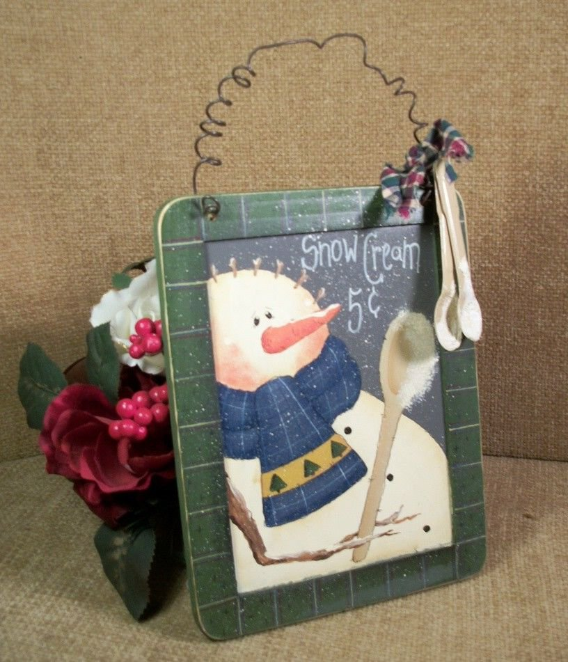 Hand Painted Snowman Wall Hanging Snow Cream 5 Cents Winter Scene Wall Decor