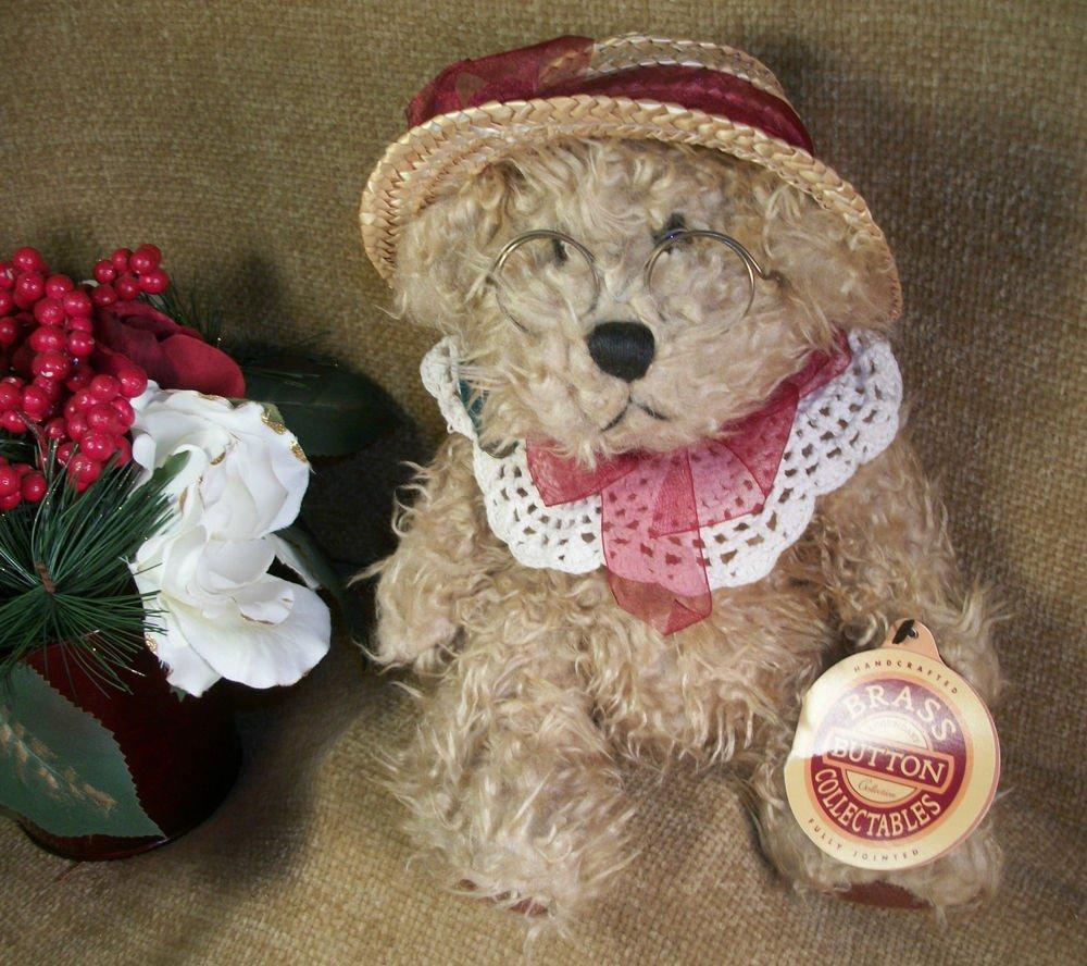 Brass Button Bear ROSIE by Pickford Tan Plush Fancy Vintage Stuffed Animal