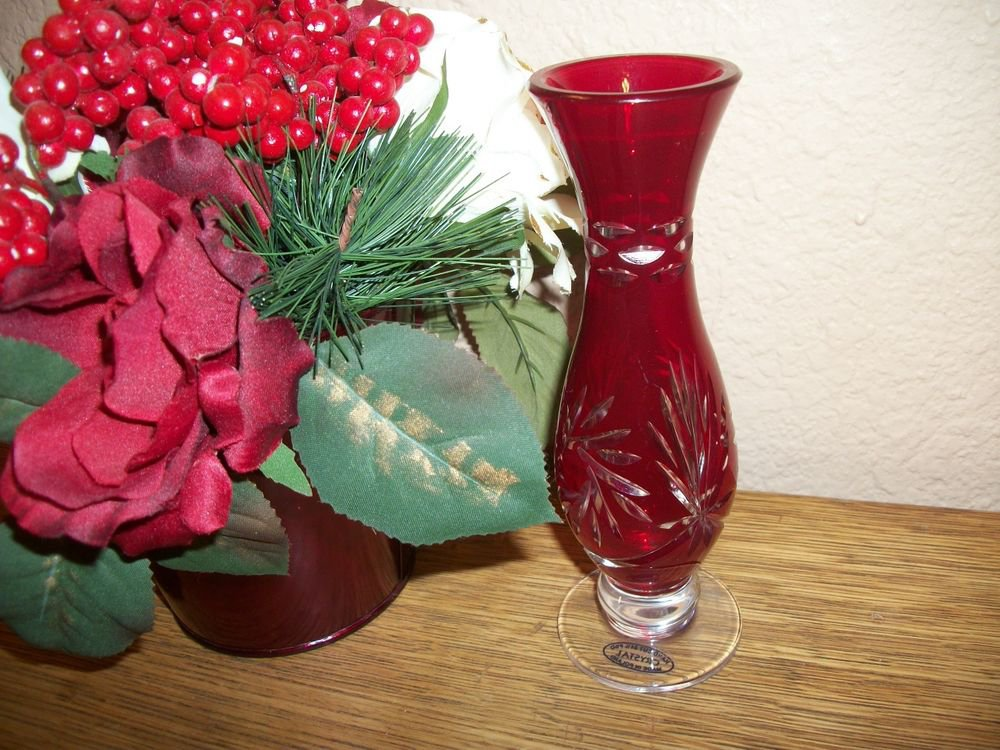Red Lead Crystal Hand Cut Art Glass Bud Vase from Poland Elegant Home Decor