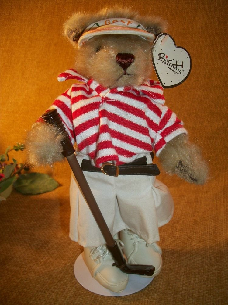 Plush Stuffed Bear Sporty Golfing Girl Teddy Bear with Stand by RICH Collection