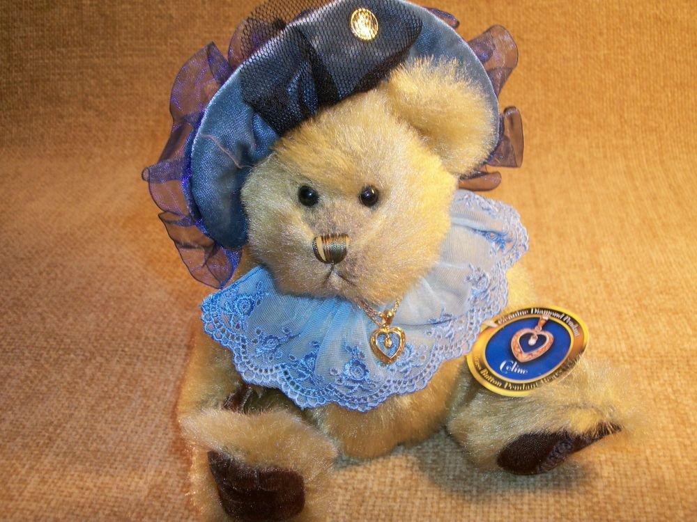 Pickford Bears Celine Brass Button Bear Diamond Pendant Stuffed Animal Keepsake