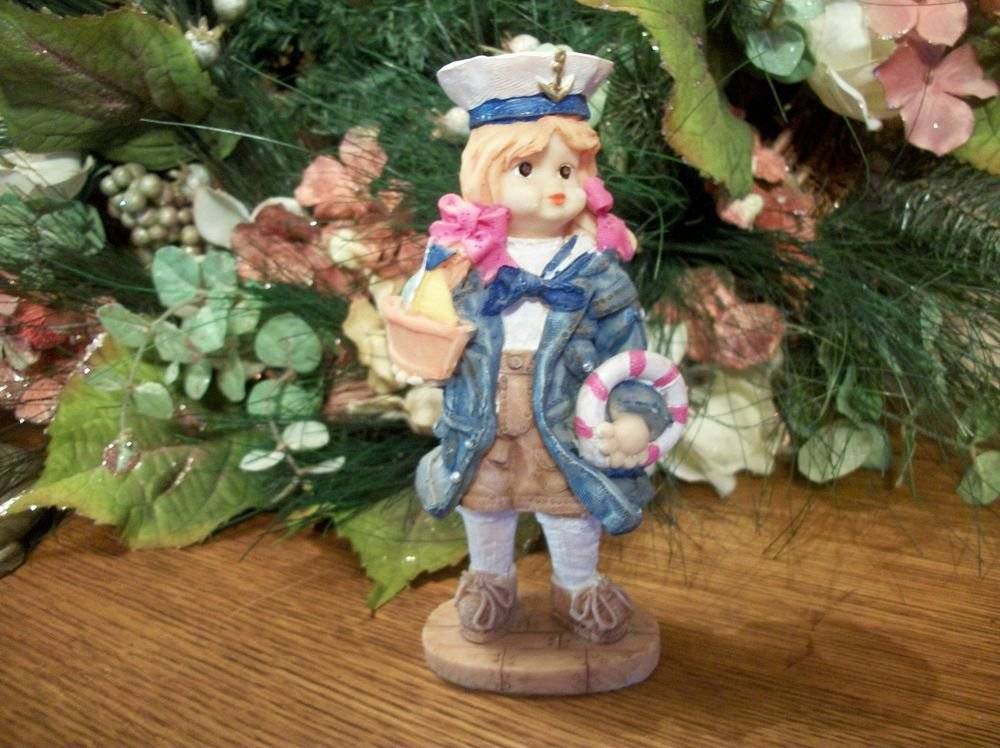 Girl Playing with Sail Boat Figurine Nautical Sea Captain Sailor Home Decor
