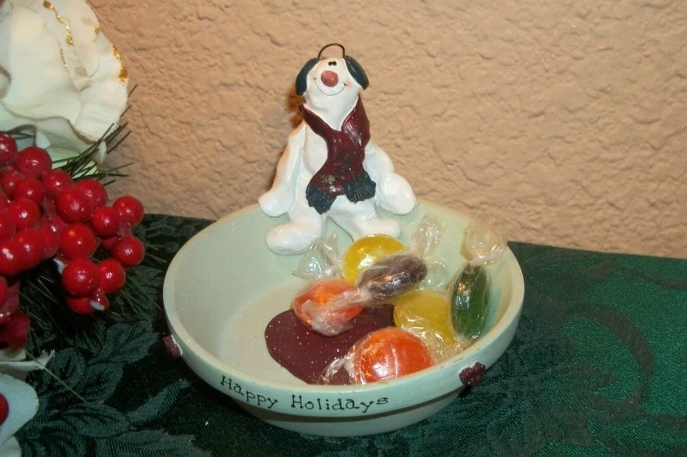 Snowman Trinket Dish Candy Nut Serving Bowl Candle Holder Christmas Decoration