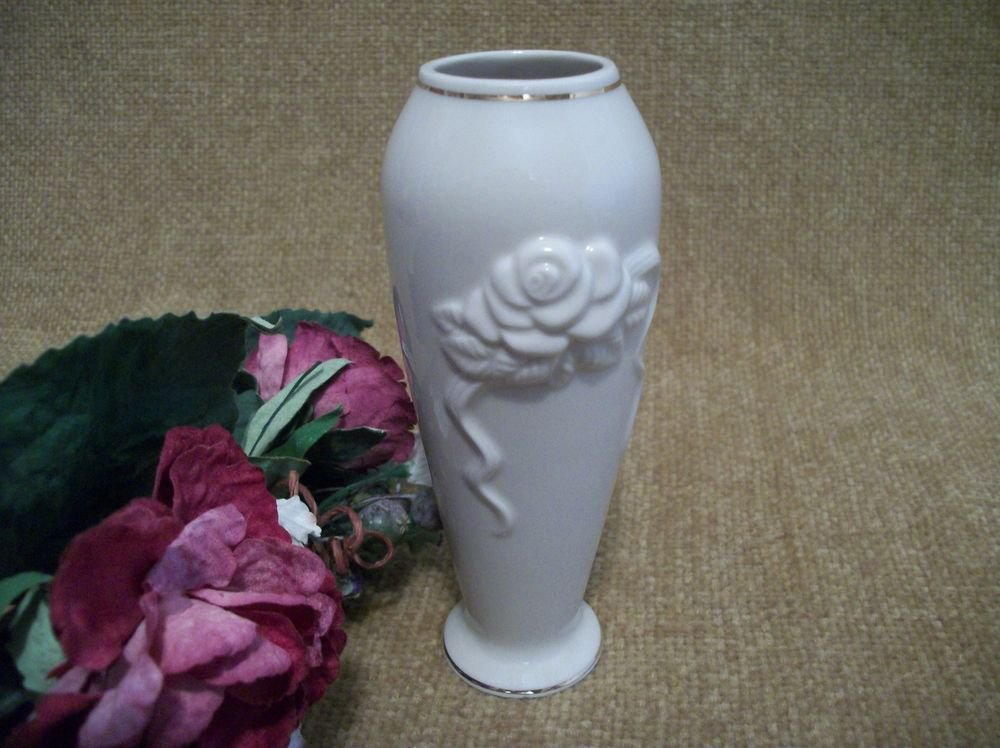 Lenox Ivory Porcelain Bud Vase Hand Painted with Gold Trim Floral Embossed