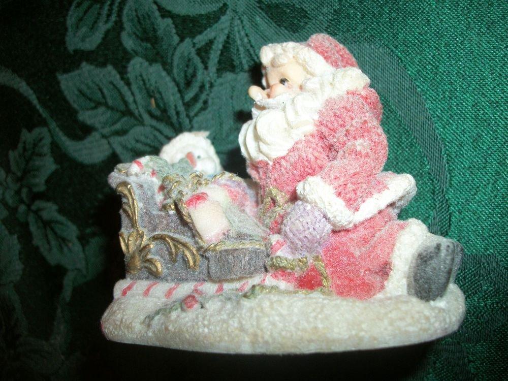 Santa Claus Snowman Sleigh Snow Scene Flocked Resin Figurine VTG Christmas Decor