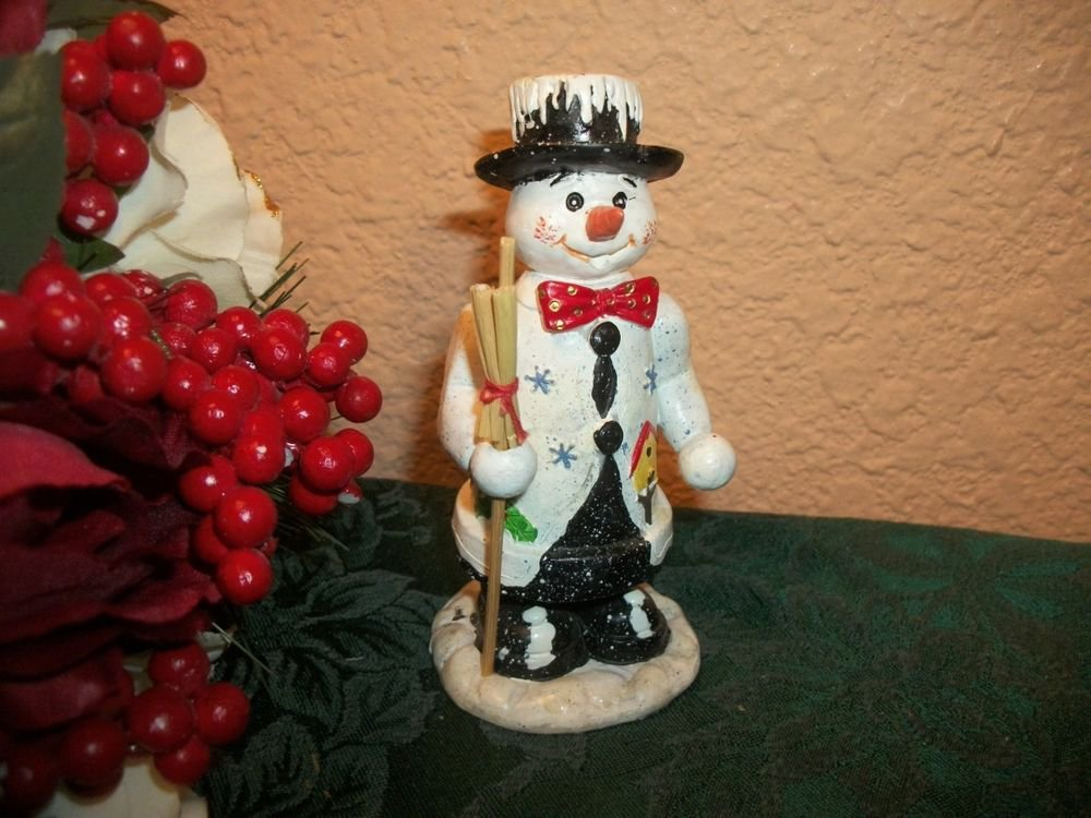 Snowman with Straw Broom Winter Figurine Christmas Holiday Home Decor