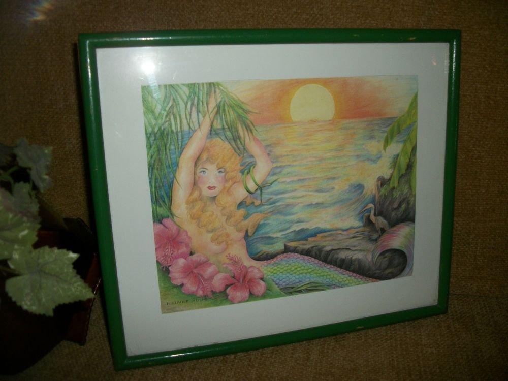 Sea Mermaid at Sunset Framed Art Print by R Elaine Holm Ocean Fantasy Wall Decor