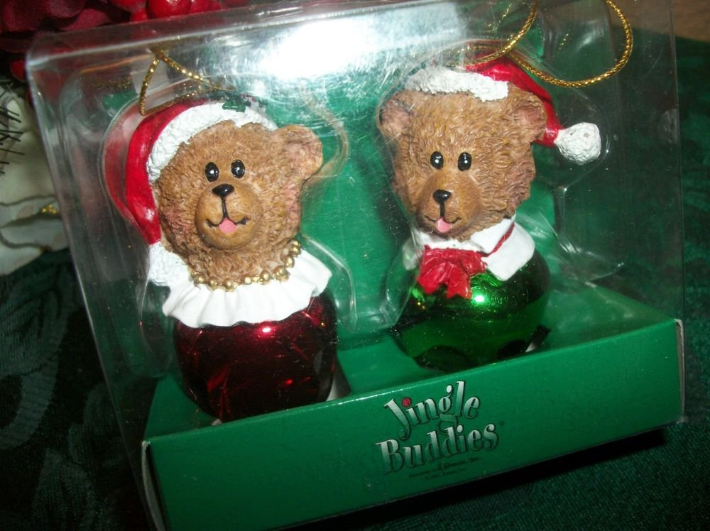 NIB Teddy Bear Couple Jingle Bell Christmas Tree Ornaments Red Green His Hers