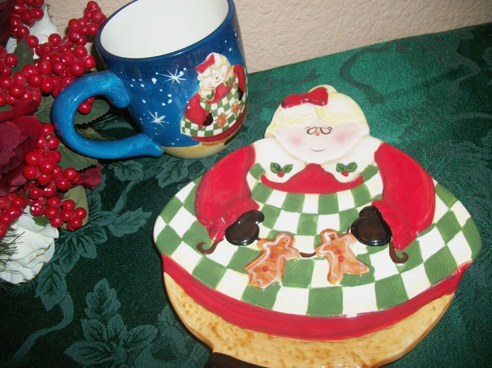 Becca Barton Christmas Plate and Mug Gingerbread Mrs Claus Ceramic Tableware