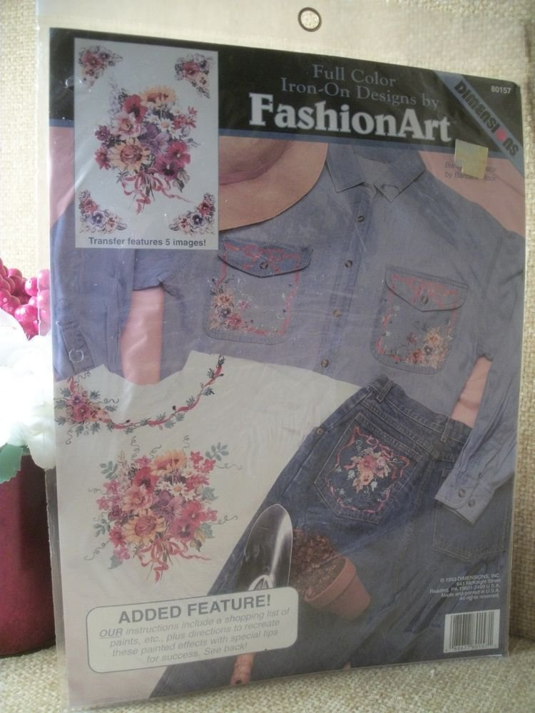 Iron-On Color Fabric Crafts Transfer Dimensions Bunches of Color Garden Bouquet