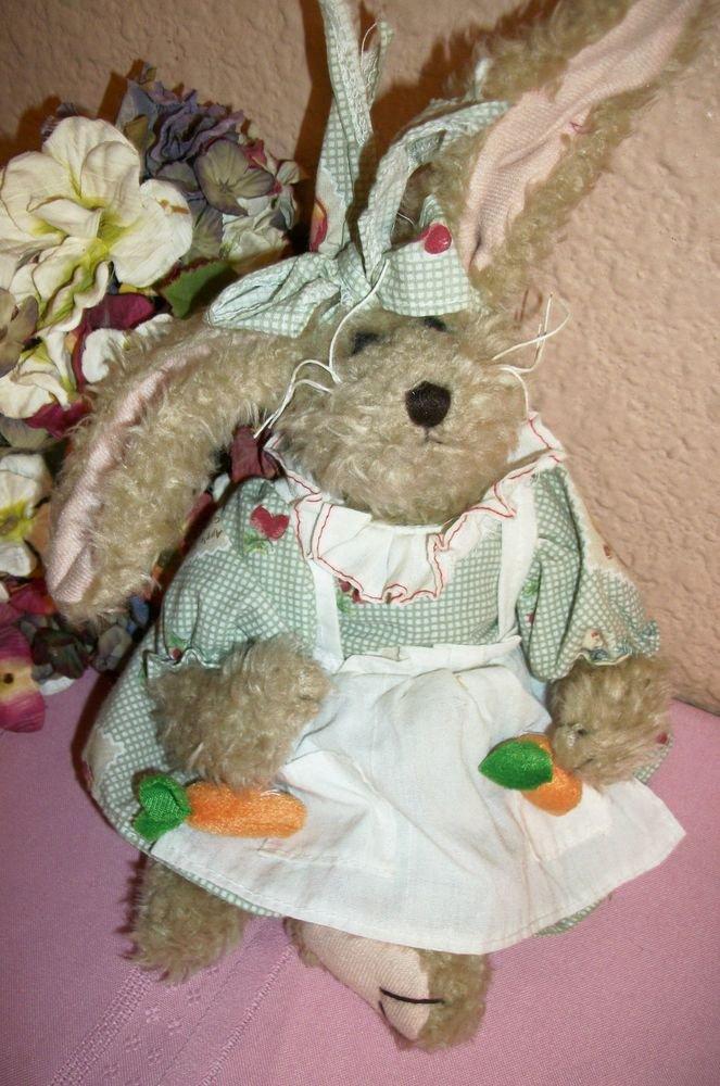 "Rabbit Stuffed Animal Beige Plush 12"" Garden Bunny Spring Home Decor by Fiesta"
