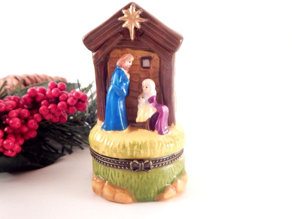 Nativity Scene Trinket Box with Gold Frankincense Myrrh Christmas Decoration