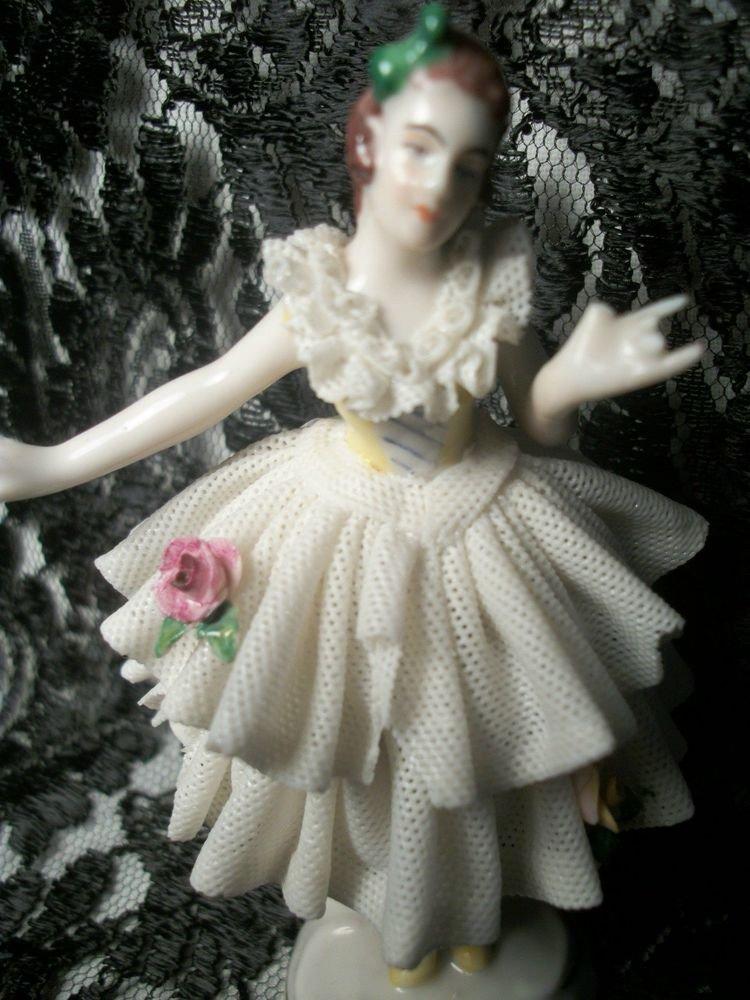 Antique Dresden Figurine Dancer Ballerina Woman Dancing Collectible Porcelain