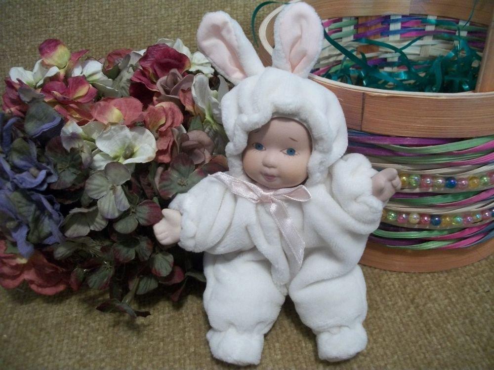 Porcelain Baby Doll White Rabbit Rabbit Snowsuit VTG Collectible Toy Home Decor