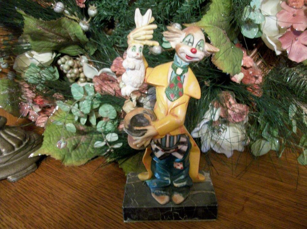 Clown Magician Fontanini Figurine Debose Italy 942 Marble Base VTG Collectible