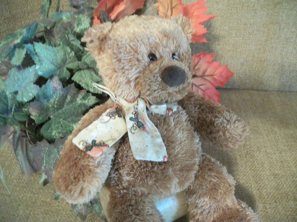 Gund Brown Plush Teddy Bear Stuffed Animal Retired Patches 88331 Fall Decor